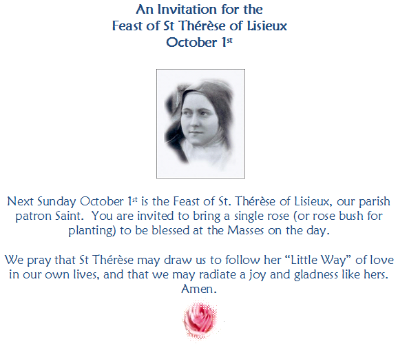 An invitation for Feast of St Therese of Liseux – 1st October