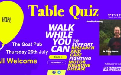 Table quiz in the Goat on 26th July – all welcome