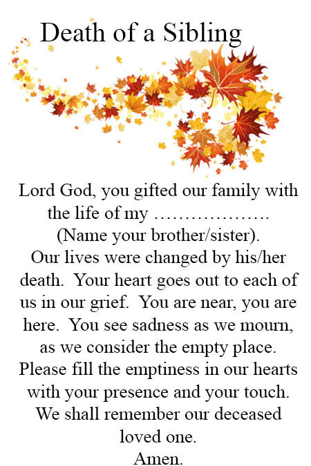 Prayer for Death of a Sibling