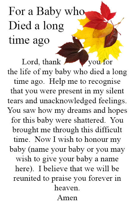 Prayer for a Baby who Died a long time ago