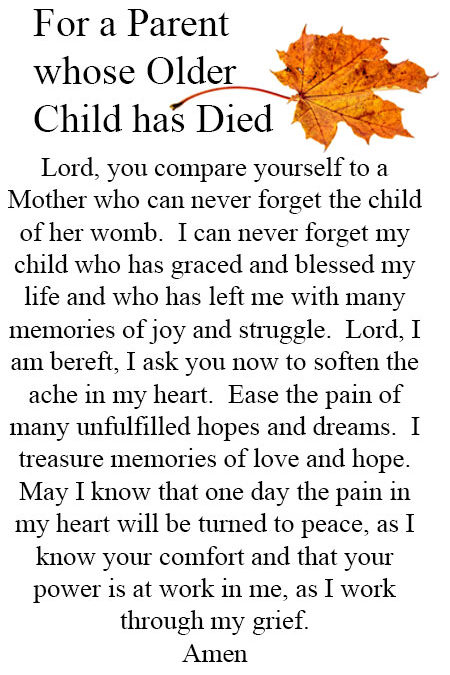 Prayer for Parent whose Older Child has Died